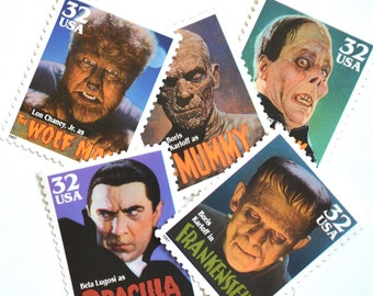 10 Unused Halloween Monster Stamps // Horror Movie Monster Postage Stamps // Dracula Frankenstein Mummy Phantom Wolf Man Stamps
