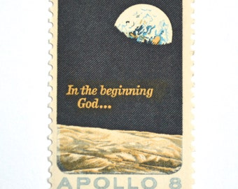10 Unused 1969 Earth to Moon Stamps // Apollo 8 Mission Outer Space //  Vintage Postage Stamps for Mailing