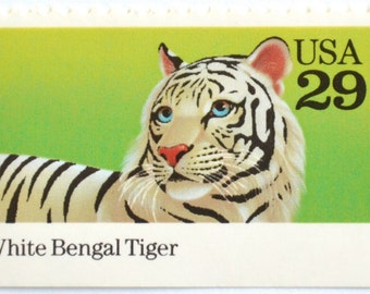 5 Unused White Tiger Postage Stamps // Vintage 1992 Bengal Tiger Stamps for Mailing
