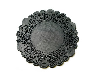 Doily Paper Round Doilies Doily Lace Cardmaking Decoration 3.5 inch Black