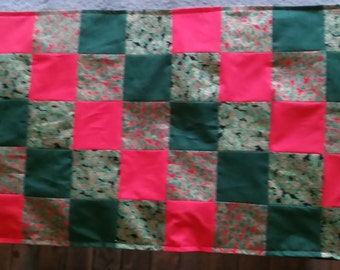Table runner patchwork approx 29x36.  Christmas and fall reversible.