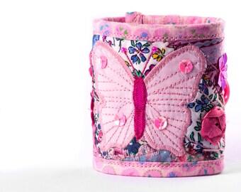 Pink Butterfly Garden Textile Wrist Cuff- Free Machine Embroidery - Butterflies - Fairy Princess - Cute - Kawaii - Textile Bracelet
