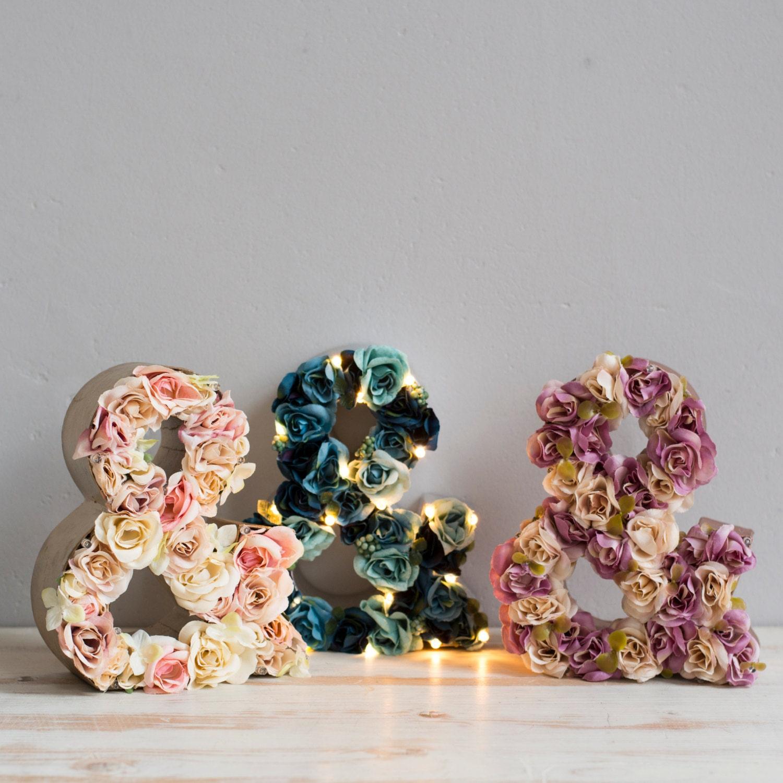 Flower letter light light up custom flower by thewhitebulb for Ampersand decoration etsy