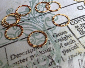 10 ea. 14 K Gold Filled Hammered Connector Jump Ring Circle Textured 13mm