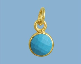 10 ea. Tiny 6mm Turquoise and Vermeil Bezel Pendant. 24k Gold Over Sterling Silver with 5mm Jump Ring Birthstone