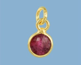 10 ea. Tiny 6mm Red Ruby and Vermeil Bezel Pendant. 24k Gold Over Sterling Silver with 5mm Jump Ring Birthstone