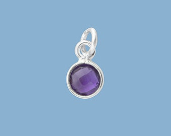 1ea. Tiny 6mm Amethyst Bezel Pendant.  Sterling Silver with 5mm Jump Ring Birthstone