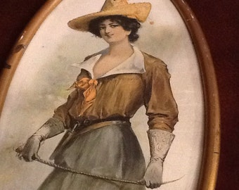 Antique 1930's Woman with Riding Whip