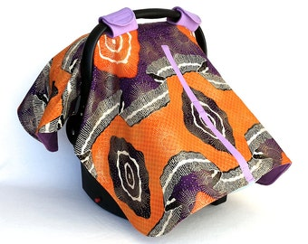 African Print Canopy – Orange and Purple Baby Car Seat Cover - Handmade and One of a Kind