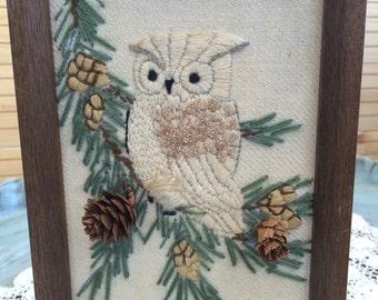 Hand Stitched and Embellished Framed Owl Art