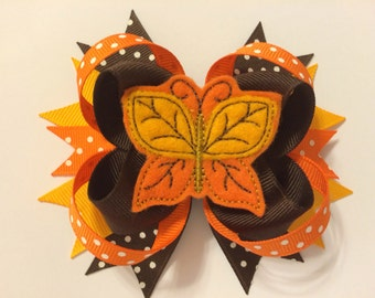 Loopy Fall Felt Butterfly Bow