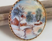 Large Cameo Hand Painted Winter Scene Brooch - Holiday Jewelry