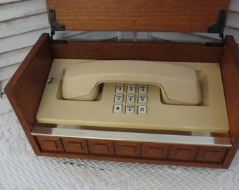 Vintage 70's Push Button Phone Wood Box Western Electric Telephone - Box Phone