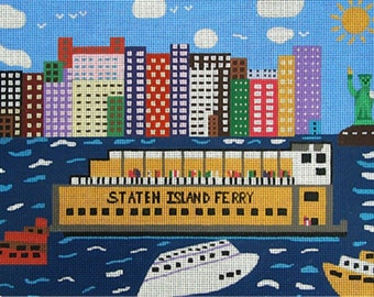 Needlepoint Handpainted Canvas Amanda Lawford STATEN ISLAND Ferry New York 13x10
