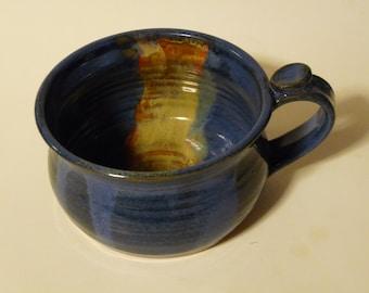 POTTERY SOUP MUG, 16 oz Chowder Mug, One Cappuccino mug / Blue Mug with handle / ice cream bowl, Dessert Bowl/ Chili Bowl