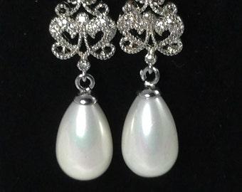 SALE -Bridal Pearl Earrings Wedding Earrings Cubic Zirconia Posts Vintage Style Bridal Earrings Statement Earrings, Bridal Earrings - CZ29