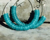 Turquoise Hoop Earrings, Turquoise, Turquoise Earrings, Hoop Earrings, Statement Earrings, Sequin Bead Earrings