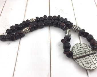 Dark brown beaded necklace, Brown beaded necklace