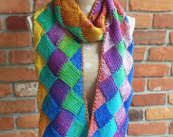 Scarf, Hand Knit, Entrelac Scarf, Multiple Colors, Blue, Green, Yellow, Red, Orange, Purple, Pink