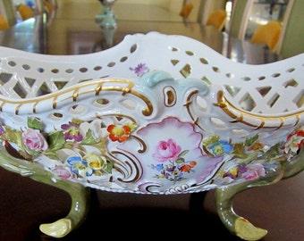 RARE: Vintage 1815-1860 Meissen Porcelain Bowl/Basket w 3D Flowers/Lattice Work - MARKED - Collectibles - Meissen Porcelain Serving Bowl