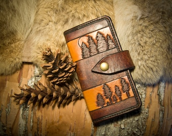 DISCOUNTED Leather Forest Long Wallet