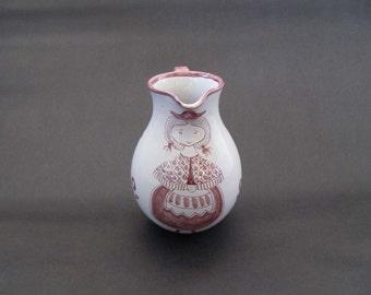 Scandinavian Midcentury Kari Nyquist Studio Pottery Pitcher / Jug - Norwway 1950s