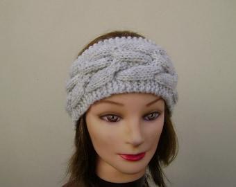 Light Grey Headband/Earwarmer Handknit with Cable. Ready to Ship