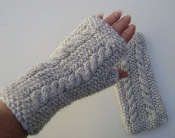 Light Grey Fingerless Gloves with Cables.Hand Warmers.Fingerless Mittens. Hand Knit.
