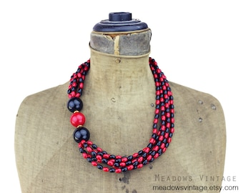 Large Red and Black Bead Necklace ,Chunky Red and Black Bead Necklace, Long Red and Black Necklace, Long Black and Red Necklace