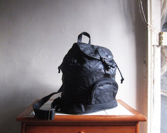Vintage black leather patchwork drawstring satchel backpack rucksack