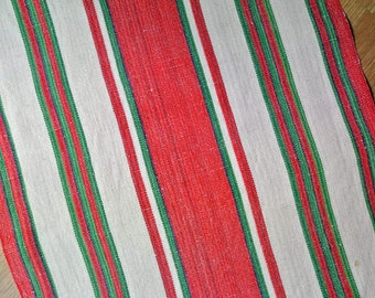 Well done Swedish retro vintage 1960s long red/ green/ beige handwoven cotton/ linen Christmas tablecloth runner with striped pattern