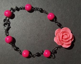Pink and black rose charm bracelet