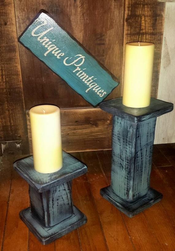 Pedestal Candle Holders : Grungy pedestal pillar candle holder primitive distressed blue