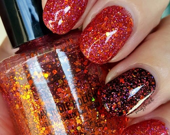 Holographic glitter Nail Polish - bonfire -  mini 5 ml  bottle -  - Handmade