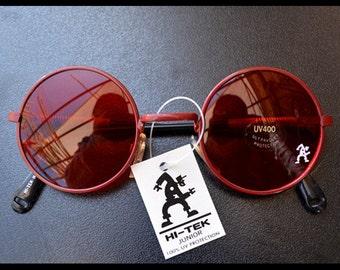 Hi Tek Alexander mowen painted red round metal frame John Lennon style sunglasses red lens retro vintage UV400 spring temples