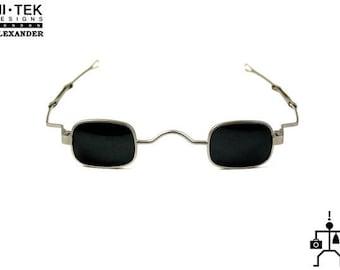 Hi Tek Alexander small square sunglasses spectacles retro Victorian adjustable temples Goth Steampunk Sherlock Holmes persona