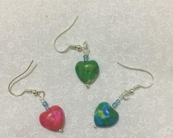 trio of hearts (pair of 3 drop earrings)