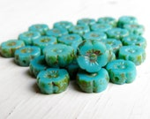 Pacific Aqua Tiny Blooms - 8mm vibrant turquoise czech table cut flower beads, Picasso finish (6), czech glass beads