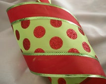 "5 YARDS, Red and Green Ribbon,Christmas Ribbon, 5"" wide,wired-edge,Baskets,Bows,Wreaths,Home Decor,Ribbon Decorations,Decorative Ribbon"