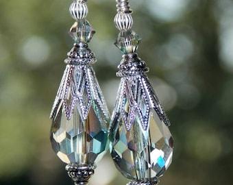 Crystal AB Drop Earrings, Vintage Style Earrings, Crystal Dangle Earrings, Victorian Style Earrings, Bridal Earrings. Wedding Jewelry