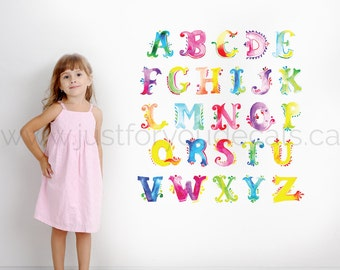 Girlie Alphabet Wall Decal - Girls Room Children Wall Decal - Playroom Wall Decal - Watercolour Wall Art - Custom Decal Wall Graphic 01-0058