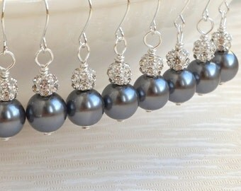 Bridesmaids Jewelry Set Of 4 Bridesmaids Earrings Grey Glass Pearls And Silver Earrings
