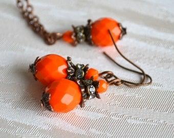 Orange Bridesmaid jewelry set Bridesmaid necklace and earrings set Orange bridal party Orange necklace and earrings Rustic vintage jewelry