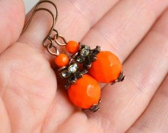 Orange Bridesmaid earrings Bridal shower gift Bridesmaids jewelry Orange wedding party Orange earrings Flower girl gift rustic jewelry