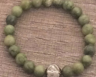 Green Serpentine  Stretch Bracelet