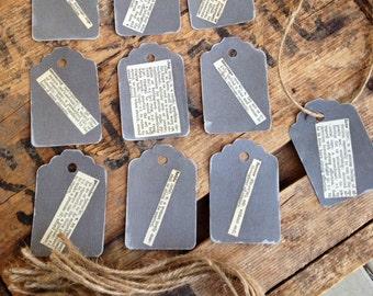 Wedding Hang Tag Set of Ten / Bridal Theme 1925  Vintage Dictionary / Gift Tag / Wedding Gift Label / Decoupage Gift Tags / Grey Hang Tags