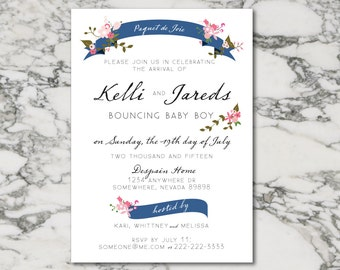 Floral Ribbon Baby Shower Invitation