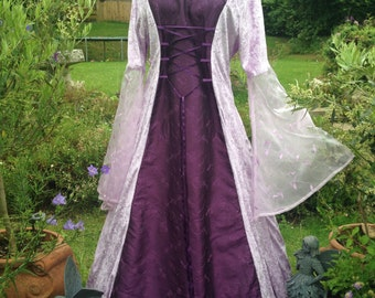 Elven bespoke lilac  renaissance medieval pagan celtic wedding handfasting gown / dress uk 14 to 22 / us 12 to 20