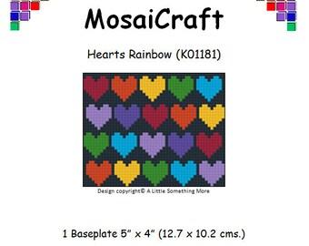 MosaiCraft Pixel Craft Mosaic Art Kit 'Hearts Rainbow' (Like Mini Mosaic and Paint by Numbers)