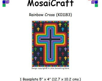 MosaiCraft Pixel Craft Mosaic Art Kit 'Rainbow Cross' (Like Mini Mosaic and Paint by Numbers)